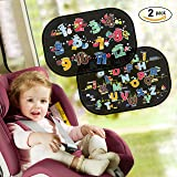 Car Window Shade, 2 Pack Safe&Care Static Cling Easy to Install Best Auto Accessories for Side Window, Foldable Cartoon Car Sun Shade 19''X13'' Block UV Heat Rays Glare for Kids/Pets(Numbers Letters )