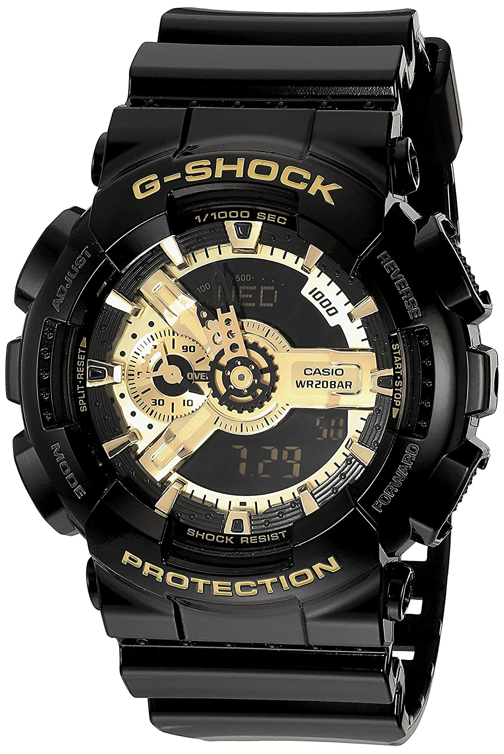 c3e45c9b427b Amazon.com  G-Shock Men s X-Large Combi GA110 Black Gold One Size  Watches
