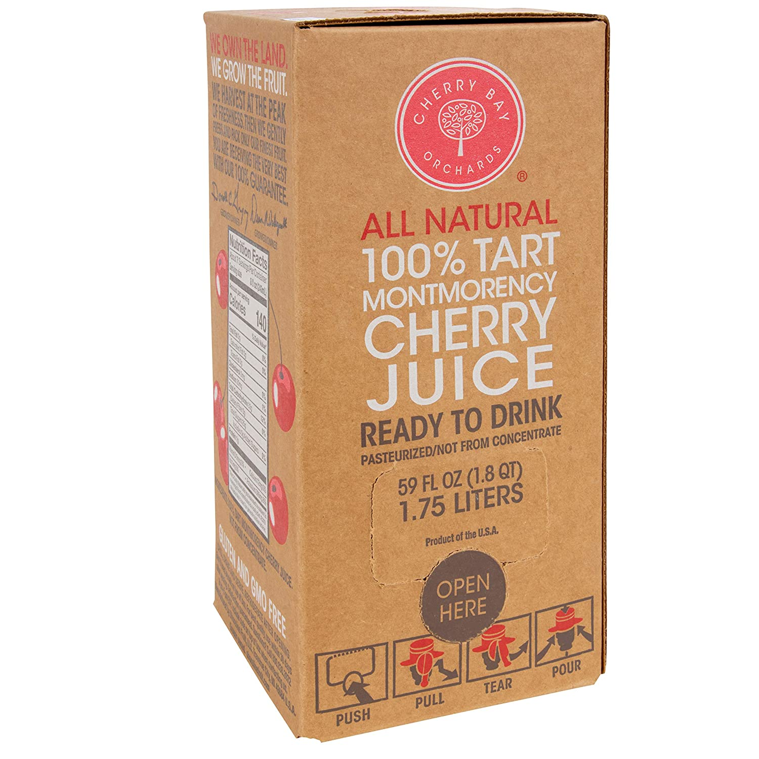 Cherry Bay Orchards - 100% Montmorency Tart Cherry Juice   Six Pack - 59 oz bag in a box   Not from concentrate   All Natural Ingredients, Gluten Free, GMO Free, Natural Antioxidants, No Added Sugar