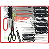 Kitchen Knife Set with Cooking Cutting Board 16 Pieces, Stainless Steel HULLR