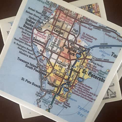Sw Florida Map.Amazon Com Sw Florida Map Coasters Set Of 4 With Full Cork Bottoms