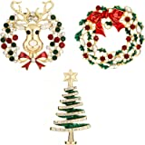 Jewelry Christmas Brooch Pins set Holiday Brooch Christmas Tree Snowman Xmas Pin Lot Party Favor Christmas Brooch Pin Set gifts christmas reindeer pins set