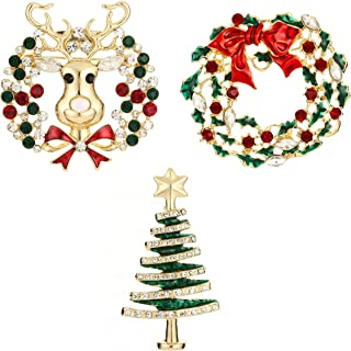 Christmas Brooch Pin Deer Wreath ChristmasTree for Women and Men Wedding Party Jewelry 3 of pack Ya Shi Da