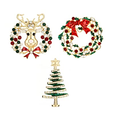 Jewelry Christmas Trees.Ysd Jewelry Christmas Brooch Pins Set Holiday Brooch Christmas Tree Snowman Xmas Pin Lot Party Favor Christmas Brooch Pin Set Gifts
