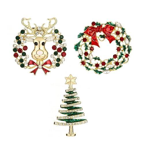 18098b596ee Amazon.com: YSD Jewelry Christmas Brooch Pins Set Holiday Brooch Christmas  Tree Snowman Xmas Pin Lot Party Favor Christmas Brooch Pin Set Gifts  Christmas ...