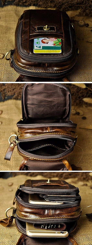 021 A marr/ón Leaokuu Hombres Bolso peque/ño Bolso al Aire Libre Bolso de Cadera Cintur/ón Bolso Cintura Paquete de Cintura de Fanny Paquete de Viaje Bolso Mensajero de Cuero de Vaca Bolso 021