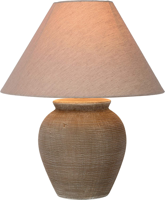Lucide Ramzi de mesa lámpara de color marrón, cerámica, E27, 60W, Brown, 34x 34x 42cm