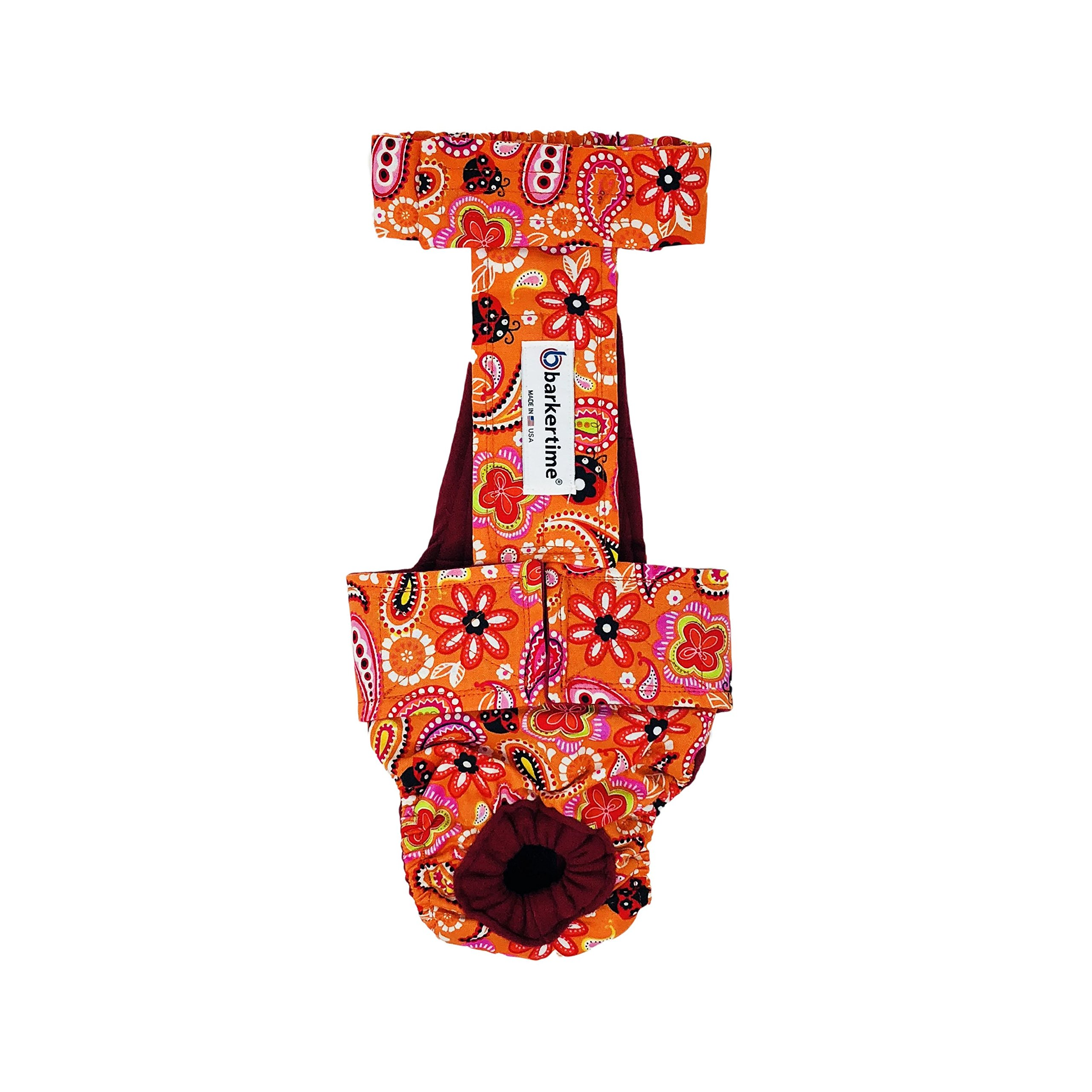 Dog Diaper Overall - Made in USA - Paisley Flower on Orange Escape-Proof Washable Dog Diaper Overall, XXL, Without Tail Hole for Dog Incontinence, Marking, Housetraining and Females in Heat