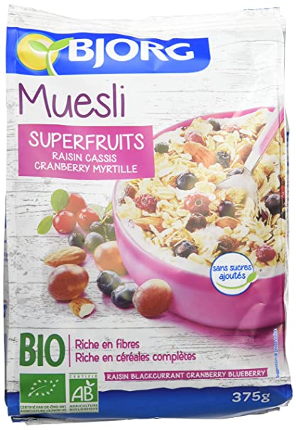 Bjorg Cereales Muesli con Frutos del Bosque, sin Azúcar - Paquete de 12 x 375
