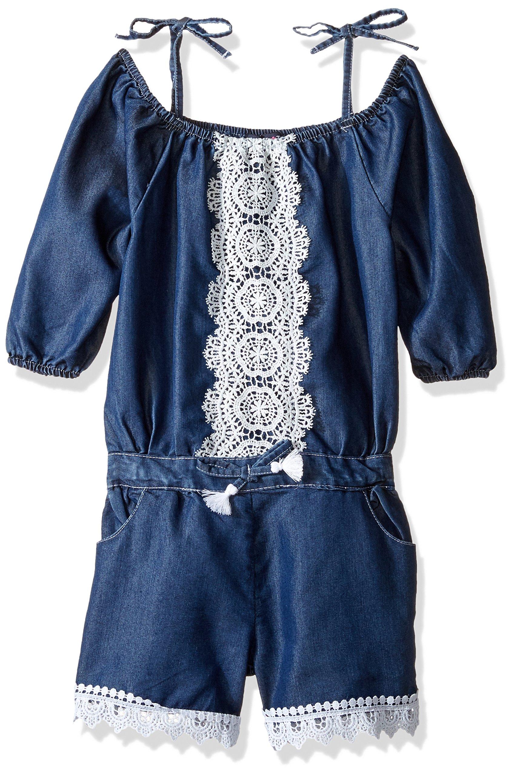 Limited Too Girls' Fashion Short Romper, 2740-Medium Blue Denim, 5/6