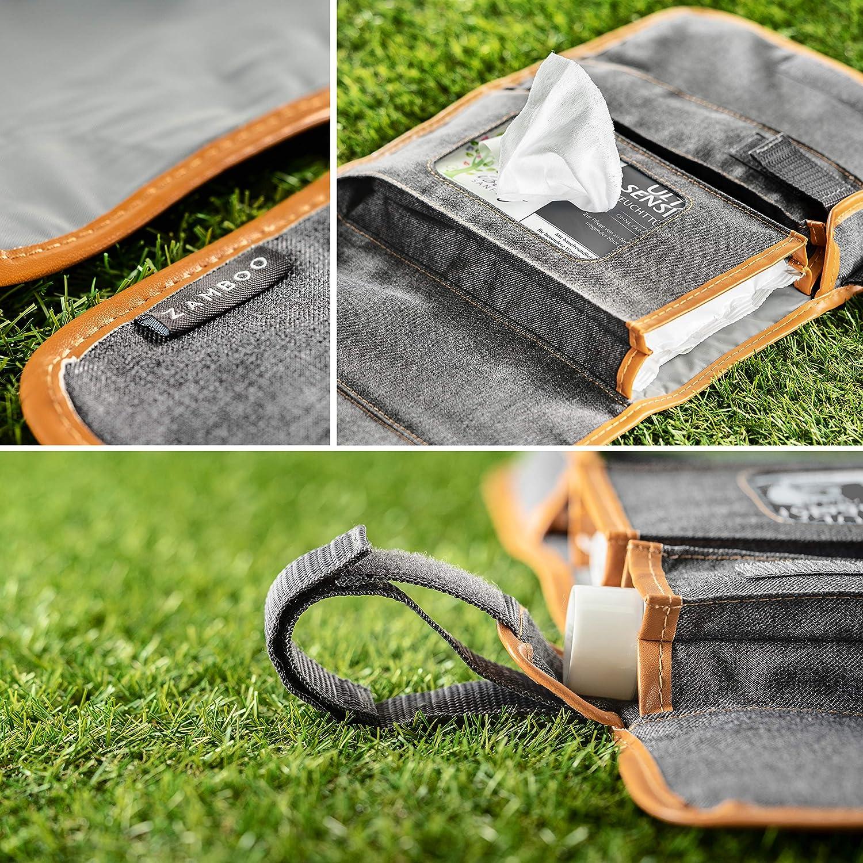 Matelas /à Langer Portable 60x50 cm Gris Sac /à Langer pliable et lavable Zamboo Kit Tapis /à Langer de Voyage Nomade