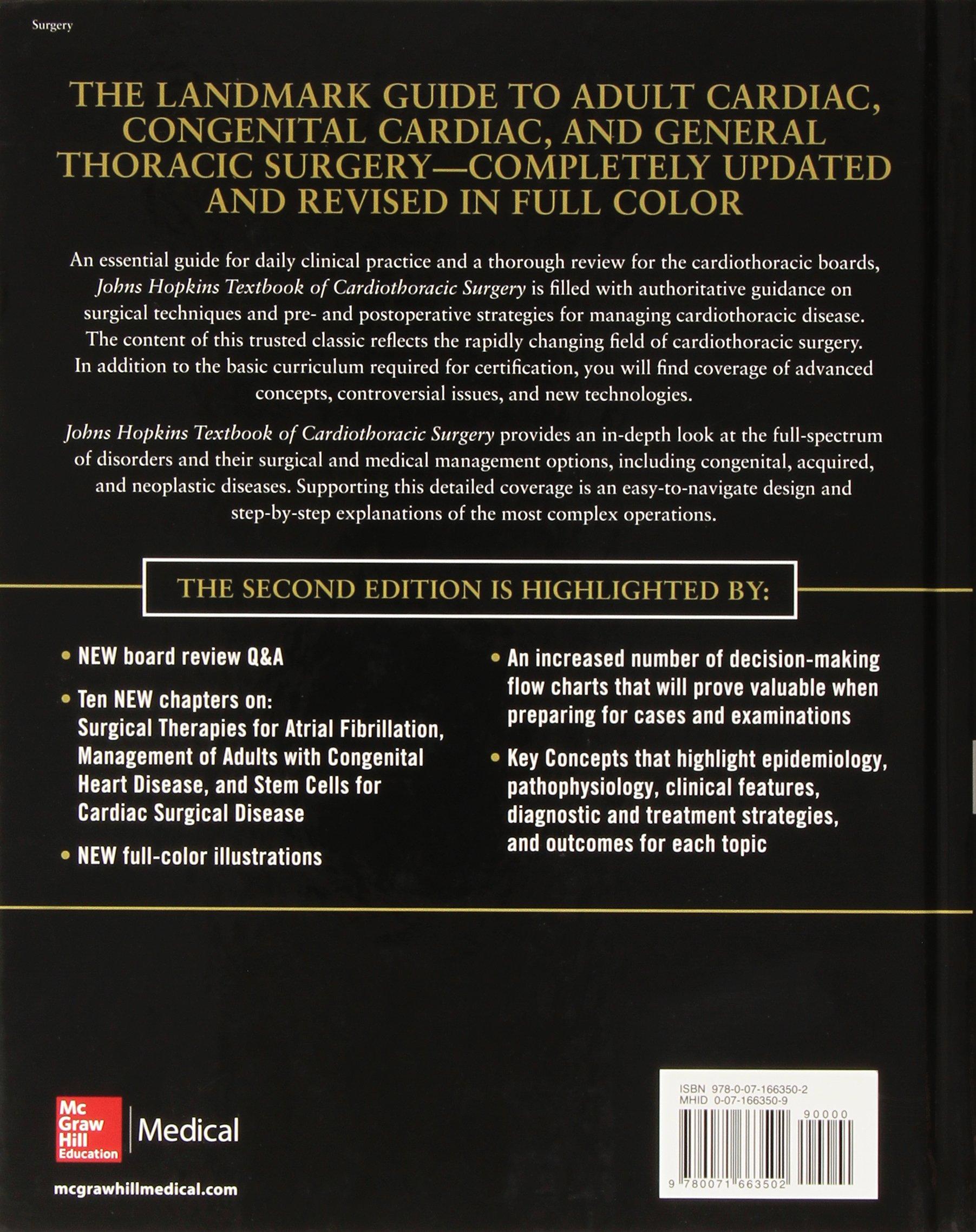 Johns Hopkins Textbook of Cardiothoracic Surgery, Second Edition:  Amazon.co.uk: David Yuh, Luca Vricella, Stephen Yang, John Doty: Books