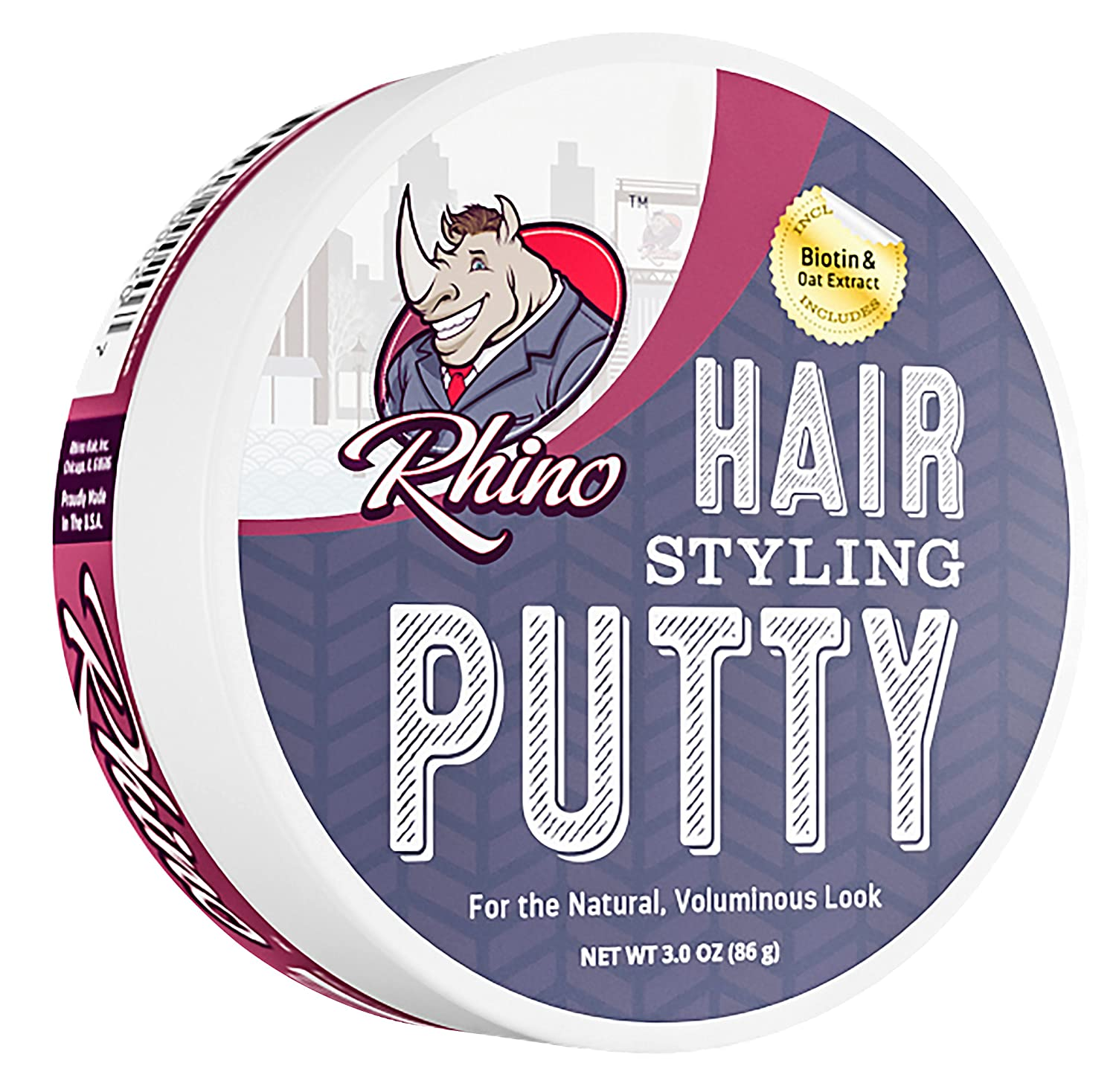 Rhino Premium Hair Styling Putty, 3 Ounces (Includes Biotin and Oat Extract) Rhino Hair