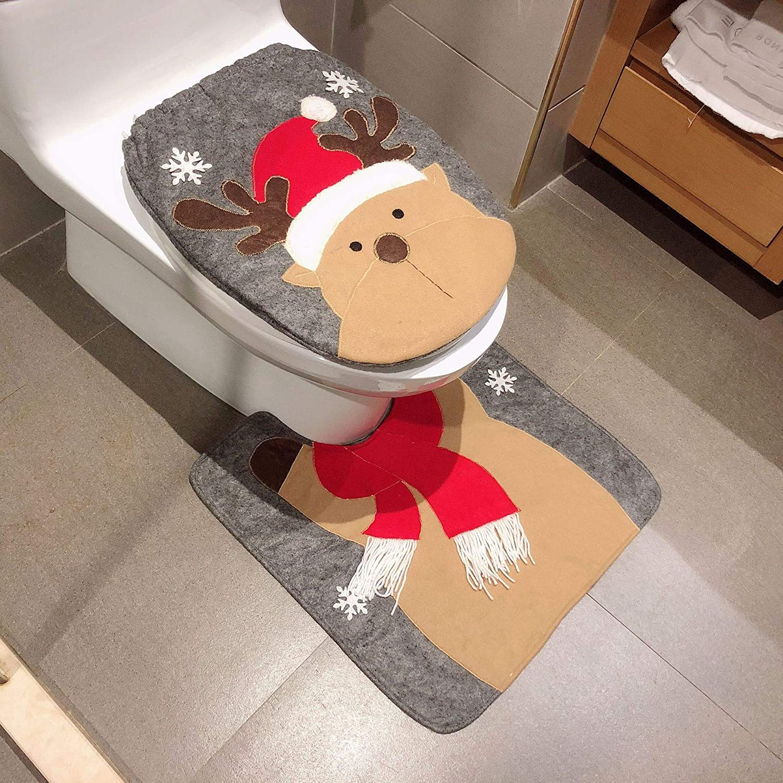 Reindeer Toilet Seat Cover Decoration- Deer Bathroom Rug + Lid Toilet Cover Set, Christmas Bathroom Toilet Decoration