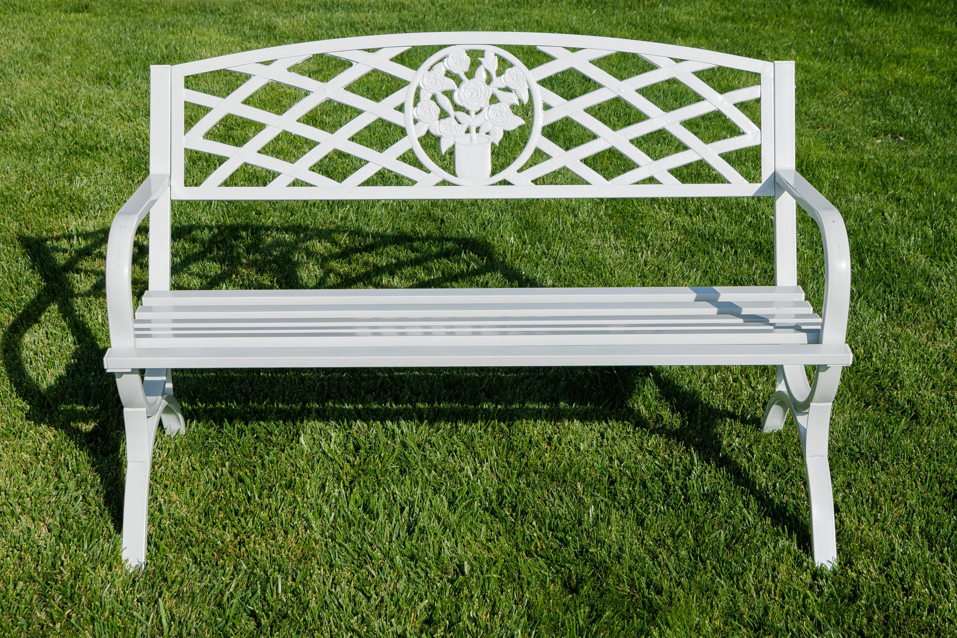 Belleze 50'' inch Outdoor Park Bench Garden Backyard Furniture Chair Porch Seat Steel Frame, White by Belleze (Image #2)