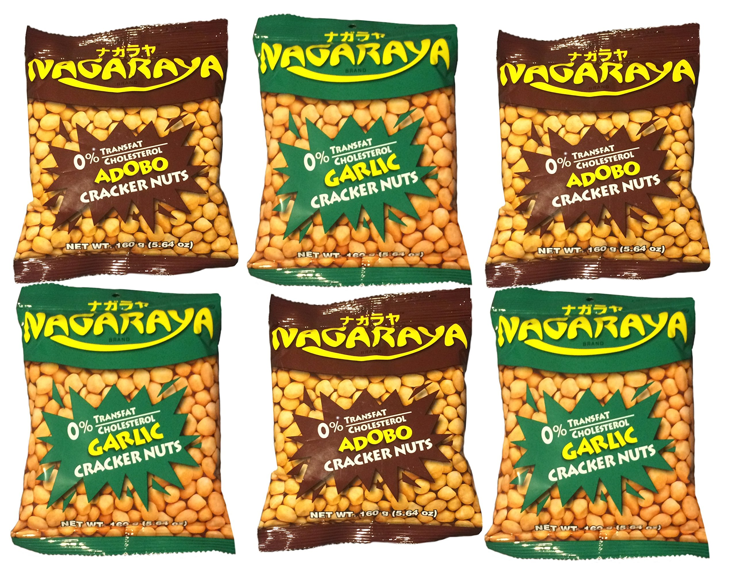 Nagaraya Adobo Cracker Nuts Bundle with Nagaraya Garlic Cracker Nuts, 3 each Flavor, 5.64 oz, 6 count