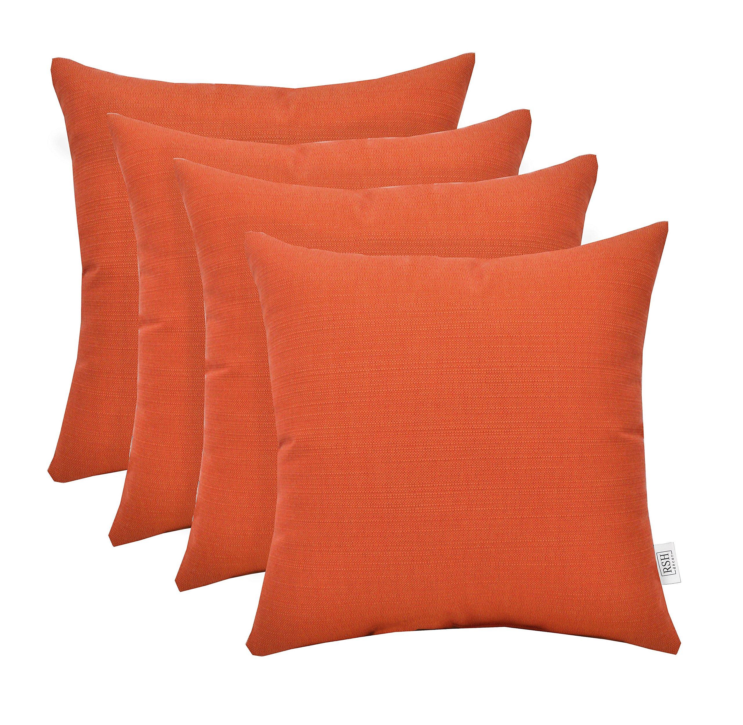 RSH Décor Set of 4 Indoor Outdoor Decorative Throw Pillows Sunbrella Echo Sangria ~ Vibrant Spicy Orange - Choose Size (17'' x 17'')