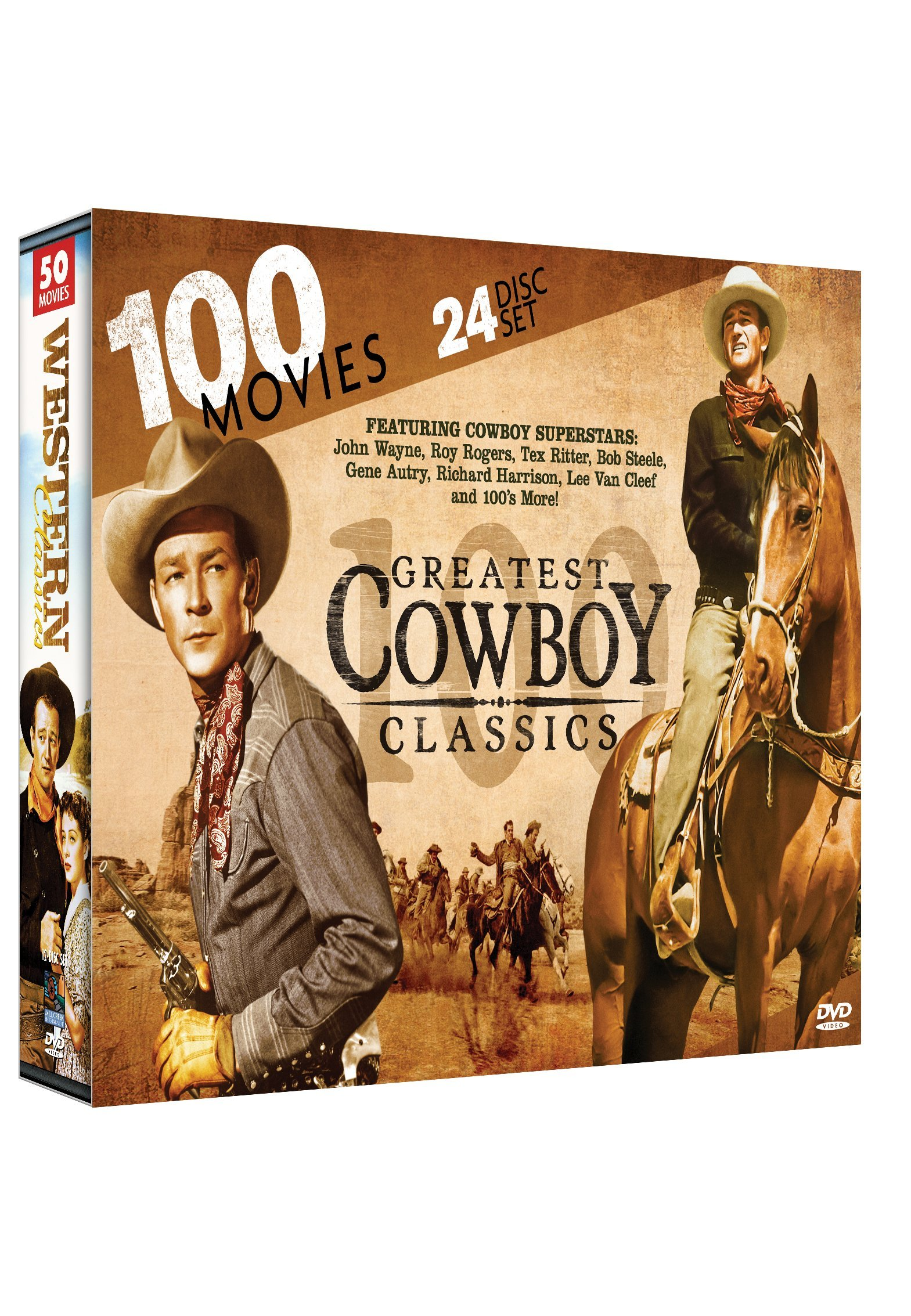 100 Greatest Cowboy Classics: John Wayne - Roy Rogers - Tex Ritter - Bob Steele - Gene Autry - Lee Van Cleef - Angel and the Badman - McLintock! - My Pal Trigger - Santa Fe Trail - Grand Duel + many more!