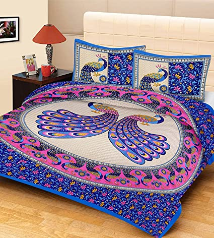 Superior Lovely Home Blue Peacock Cotton Printed Double Bedsheet (Blue)