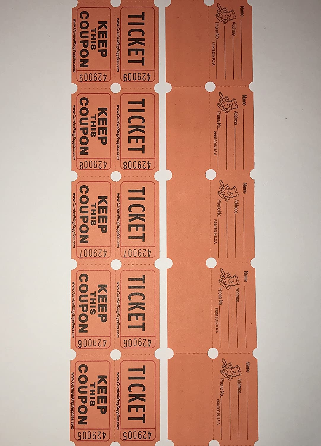 100 Orange Colored Raffle Tickets Double Roll 50/50 Carnival Fair Split The Pot One Hundred Consecutively Numbered Fundraiser Festival Event Party Door Prize Drawing Perforated Stubs