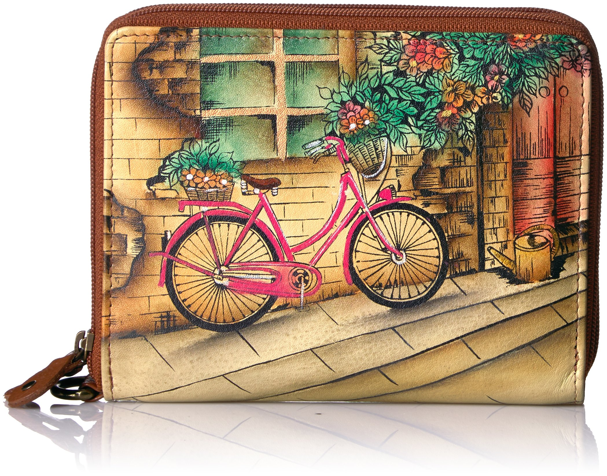 Anuschka Handpainted Leather Zip-around Organiser Clutch Wallet-vintage Bike Wallet, Vintage Bike, One Size