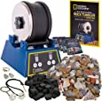 NATIONAL GEOGRAPHIC Rock Tumbler Kit-3LB Extra Large Capacity, 3LB Rough Gemstones, 4 Polishing Grits, Jewelry Fastenings, STEM Science Kit for Boys and Girls,