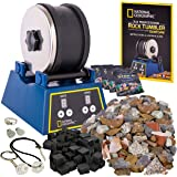 NATIONAL GEOGRAPHIC Rock Tumbler Kit-3LB Extra Large Capacity, 3LB Rough Gemstones 4 Polishing Grits, Jewelry Fastenings, an