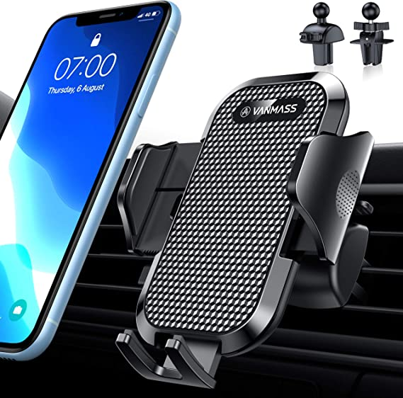 Car Cell Phone Mount,Universal Air Vent Car Phone Mount Holder Easy Clamp Cradle Hands-Free Compatible with iPhone 11//11 Pro//11 Pro Max//X//XR//XS//SE Samsung Galaxy S20//S10 Black, Style 1