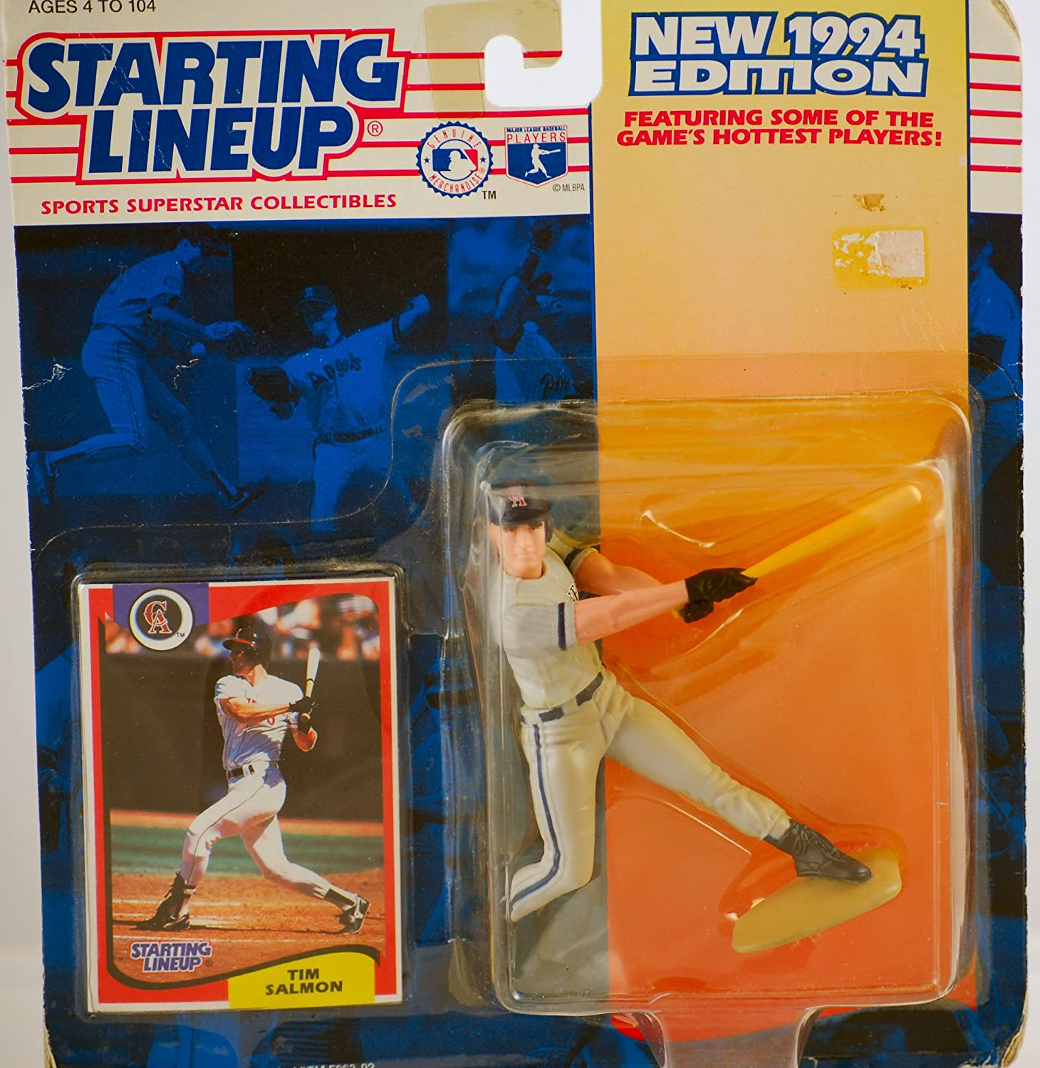 Vintage Action Figure w// Trading Card Starting Lineup Collectible Hasbro California Angels Kenner Limited Edition MLB 1994 Tim Salmon #15