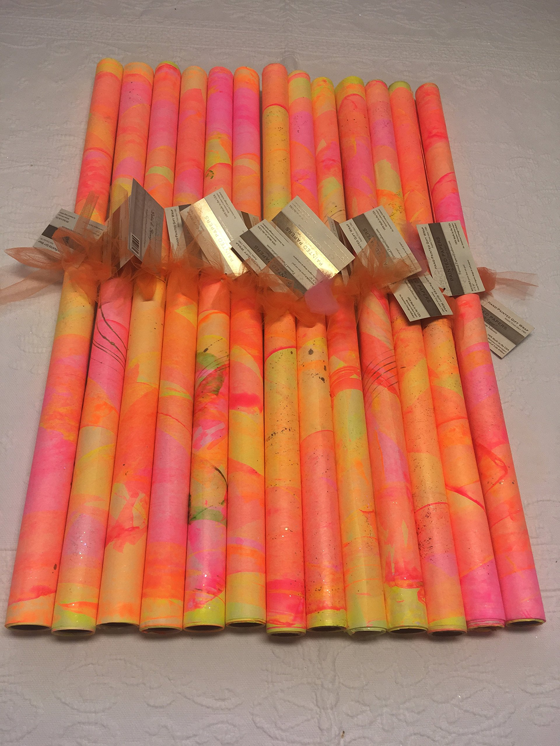 PAINTED PAPERS Gift Wrap-Neon Orange/Pink/Yellow-1 sheet 26''X 60''