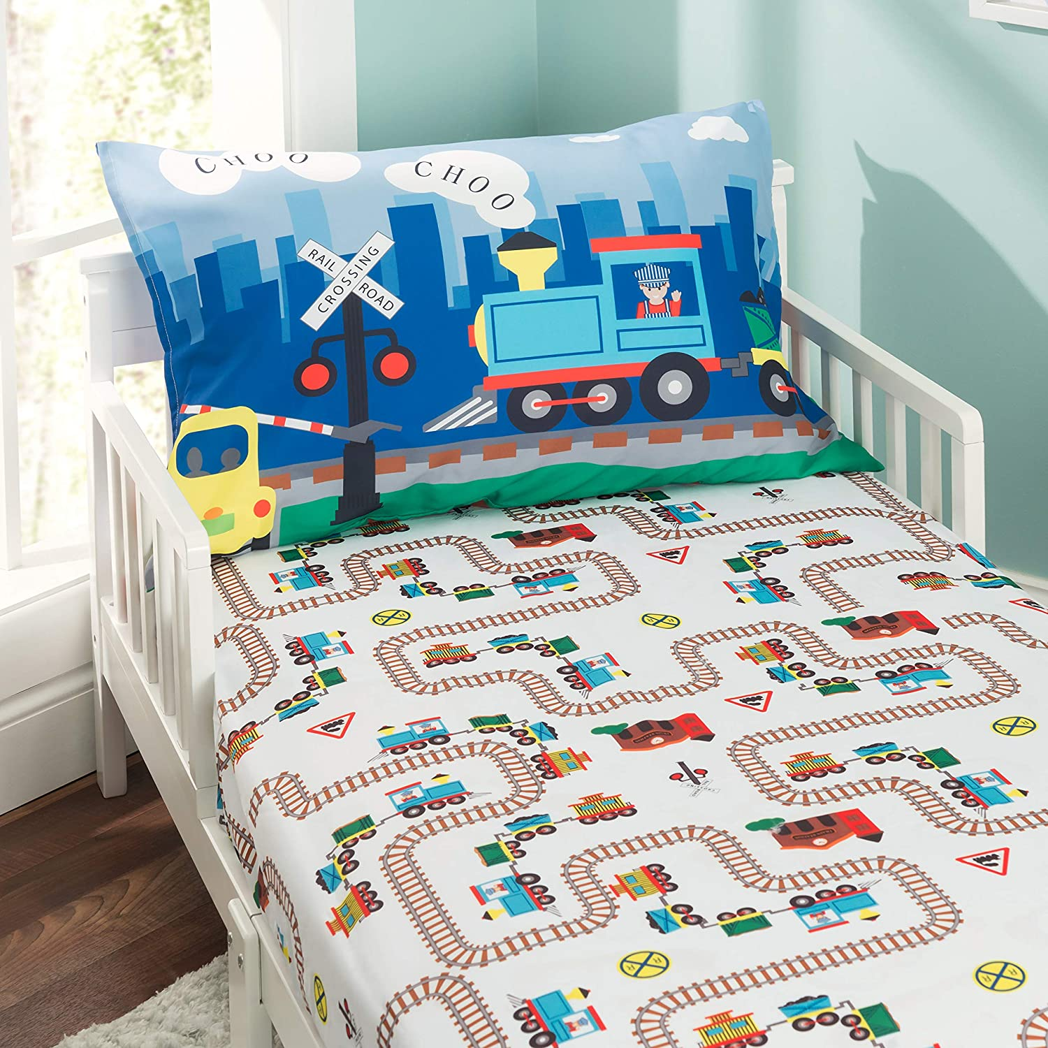 EVERYDAY KIDS Toddler Fitted Sheet and Pillowcase Set -Choo Choo Train- Soft Microfiber, Breathable and Hypoallergenic Toddler Sheet Set