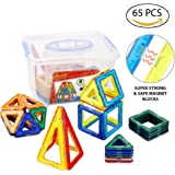 Magnetic Building Tiles for Kids   Stackable Magnetic Construction Building Blocks   Set of 65 Colorful Pieces with Storage Box