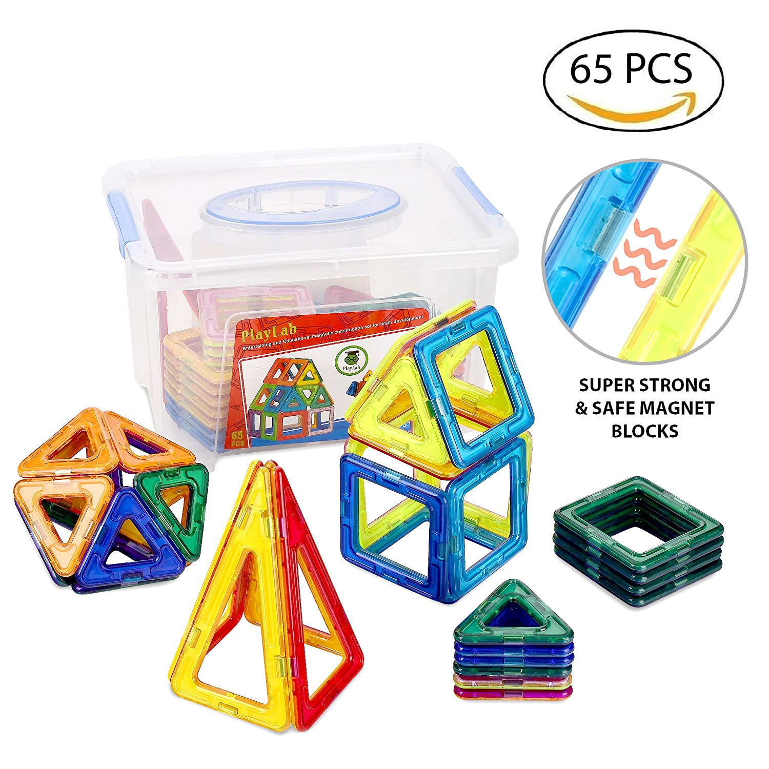Magnetic Building Tiles for Kids   Stackable Magnetic Construction Building Blocks   Set of 65 Colorful Pieces with Storage Box Review