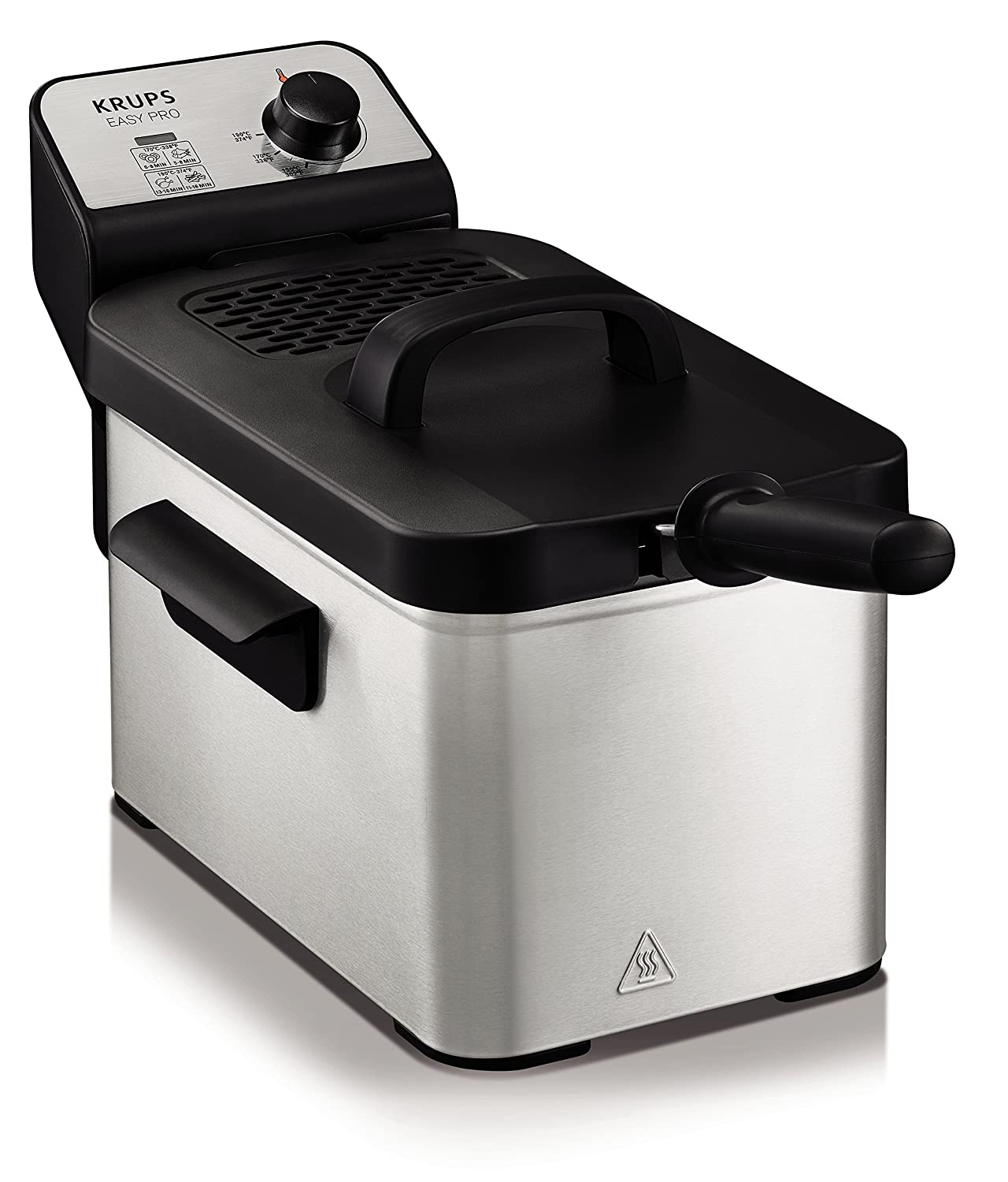 Krups KJ33 Easy Pro 2.5 L Deep-Fryer with Snack Accessory with Food Presets and Timer, Stainless Steel KJ332051