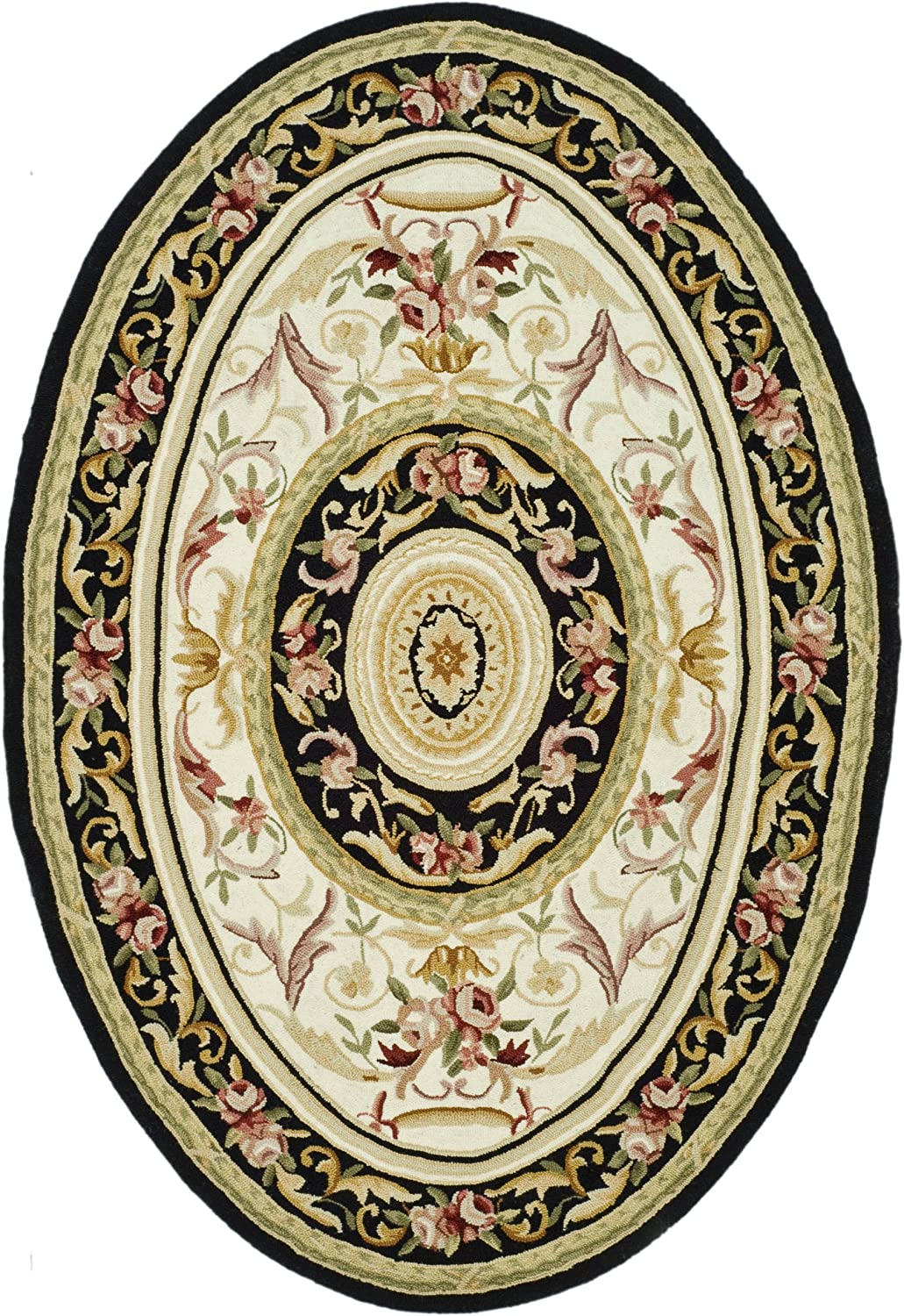 "Safavieh Chelsea Collection HK72B Hand-Hooked Ivory and Black Premium Wool Oval Area Rug (4'6"" x 6'6"" Oval)"
