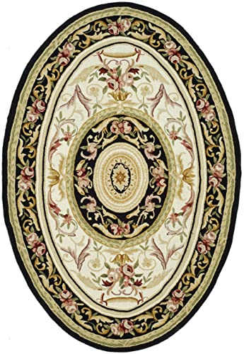 Safavieh Chelsea Collection HK72B Hand-Hooked Ivory and Black Premium Wool Oval Area Rug 7 6 x 9 6 Oval