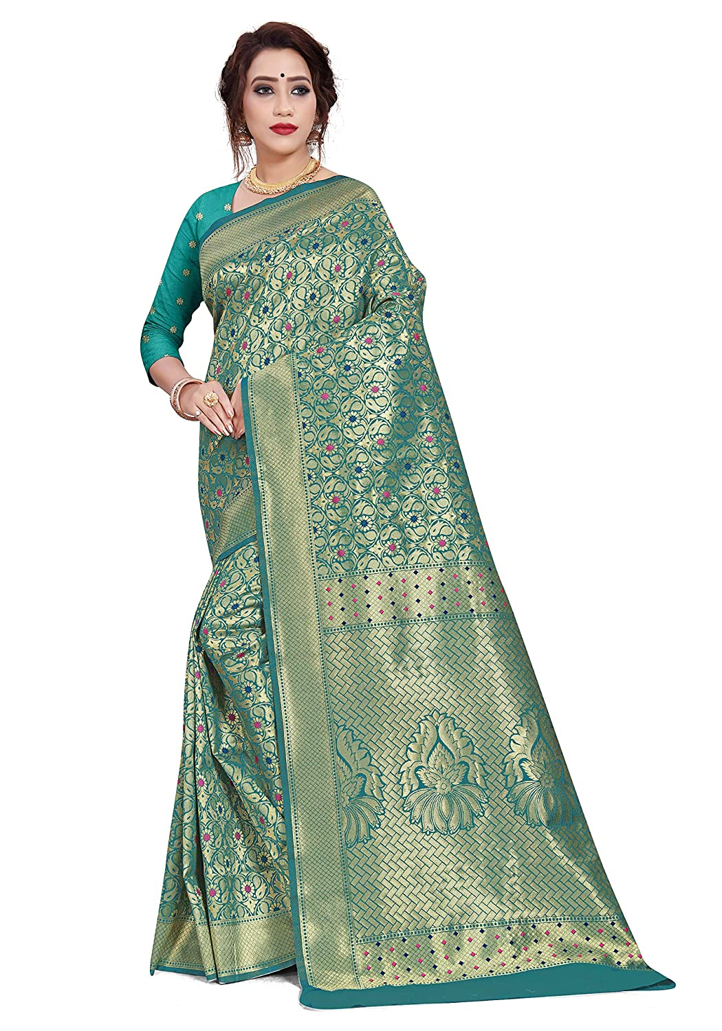 Mirraw Classiques Green Woven Art Silk Saree with Unstitched Blouse