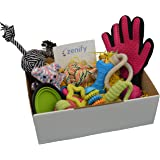 Zenify Puppy Dog Toys Gift Box - 12 Gifts - Pet Interactive Dog Toy Starter Set Includes Indoor Outdoor - Tug Cotton Rope Fetch Ball Launcher Chew Rubber Training Puppies Teething Play Basket Treat Fur Grooming Glove Portable Travel Bowl Feeder