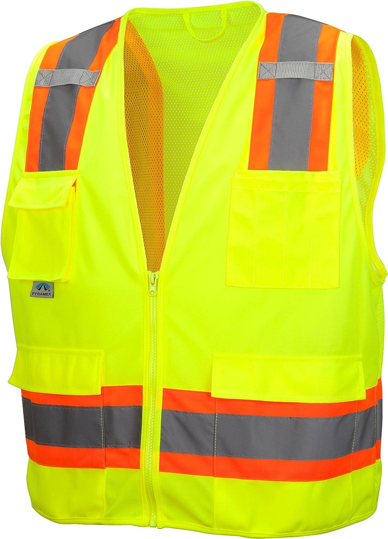 Pyramex Lumen X Class 2 Surveyor's Safety Vest with 8 Pockets, Hi-Vis Lime, XL