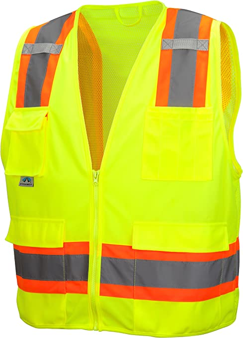 GLO-003 SURVEYOR/'S SAFETY VEST Lime 4 Pockets SIZE 3XL NEW