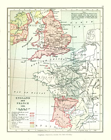 Amazon.com: Europe Map - England and France in 1259 - Gardiner 1902 ...