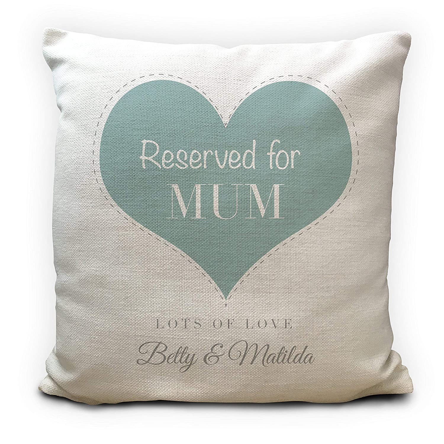 Personalised Mum Cushion Pillow Cover Reserved for Gift - Mothers Day Home Decor - Vintage Style Love Heart Design - 40cm 16 inches