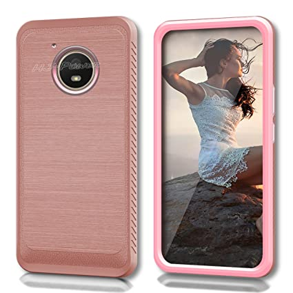 wholesale dealer abc74 2224f Moto E4 Case, HJ Power[TM] For Motorola Moto E4/XT1767 (Verizon, Sprint,  Boost Mobile)--CS4 HYBRID Case Pink Rose Gold