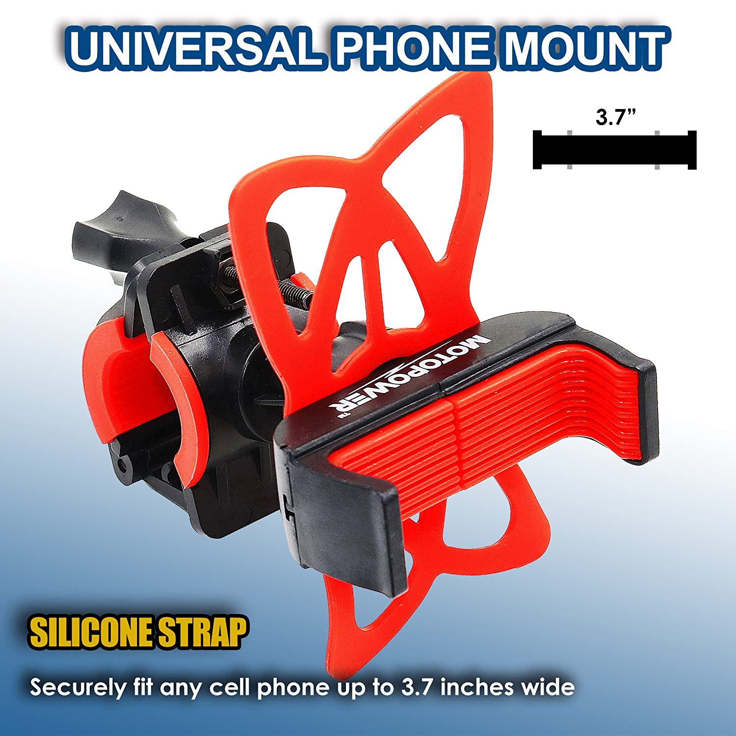 Holds Phones Up to 3.7 Wide MOTOPOWER MP0616B Universal Bike Motorcycle Phone Mount Holder Mountain /& Road Bicycle Motorcycle Handlebar Cradle Holder RED