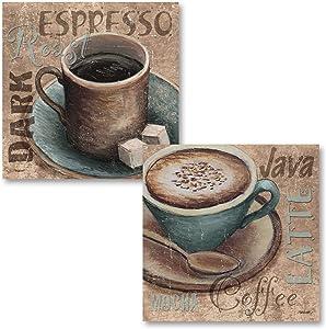 Popular Classic Coffee Espresso Java Dark Roast Signs; Kitchen Decor; Two 12x12in Poster Prints. Teal/Brown
