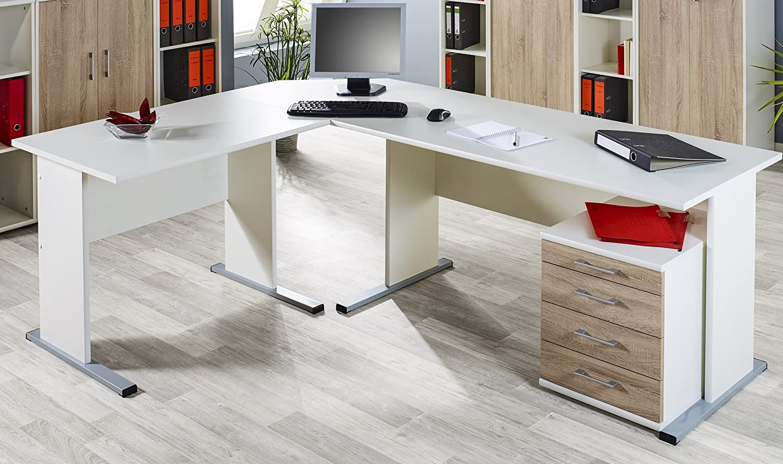 Büro eckschreibtisch weiß  Büroeinrichtung Büromöbel Büro Sonoma Eiche Weiss Aktenschrank ...