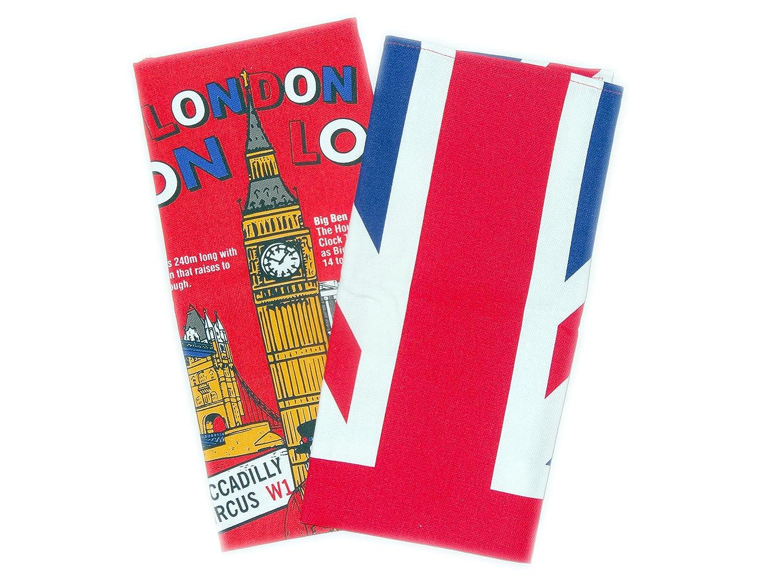 Toallas de té - Union Jack y Londres diseño de corazones hechos impreso algodón Toallas de té (Pack de 2 - Uno de cada diseño), Souvenir de Londres: ...