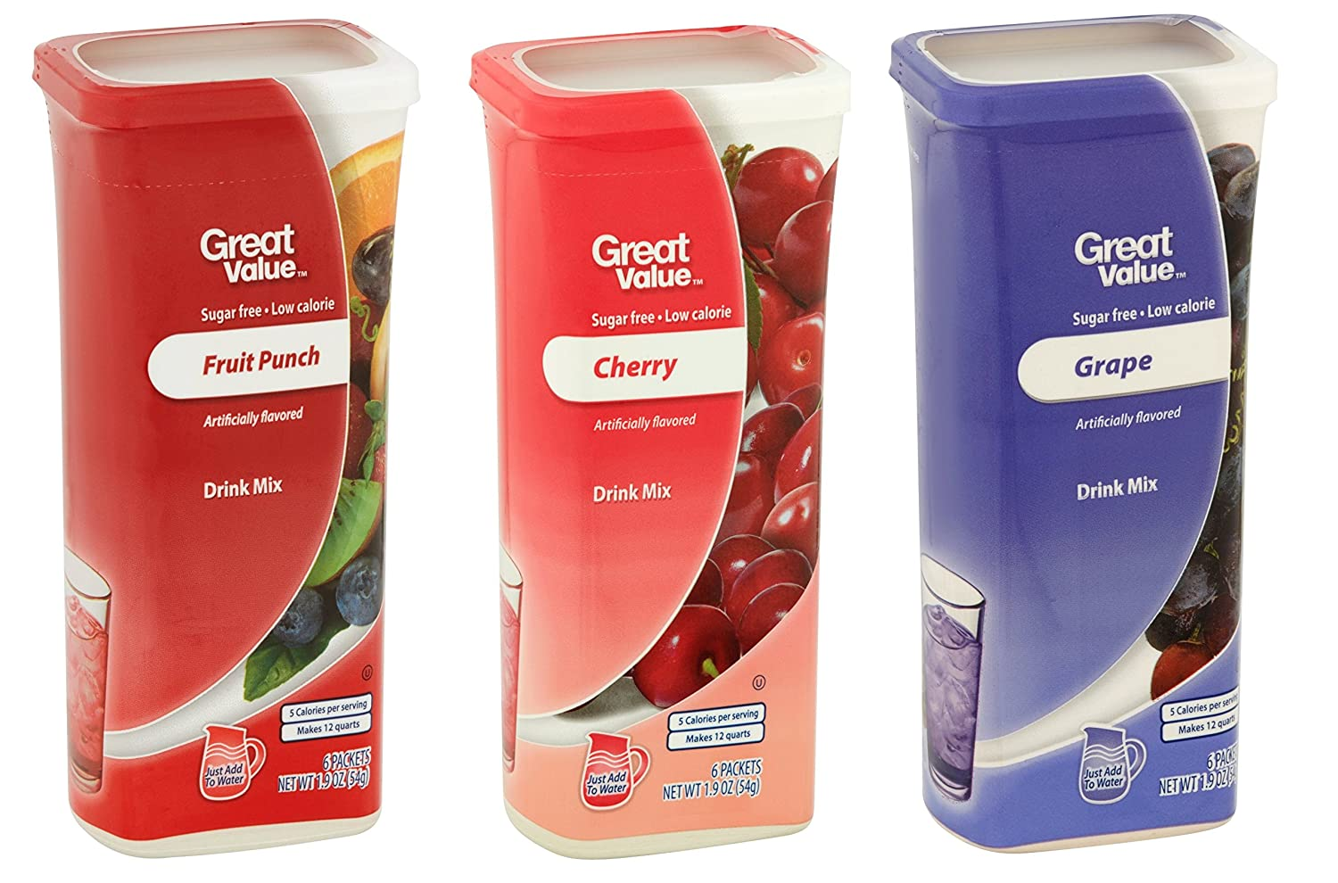 Great Value Drink Mix, Sugar Free, Fruit Punch, Cherry and Grape Bundle of 3 flavor Canisters. (Canister Designs May Vary)