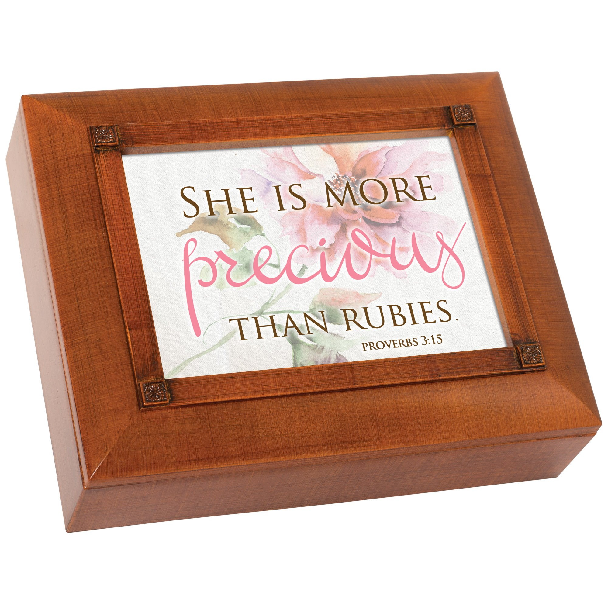 She is More Precious Than Rubies Woodgrain Embossed Tea Storage Jewelry Box by Cottage Garden