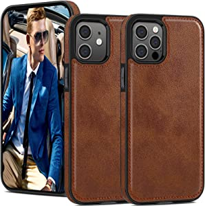 LOHASIC Leather for iPhone 12 Pro Case Men, for iPhone 12 Phone Cover Vintage Retro Hybrid Women, Protective Shockproof Non-Slip Bumper Defender Compatible with iPhone 12/12 Pro 5G (2020) 6.1 Brown